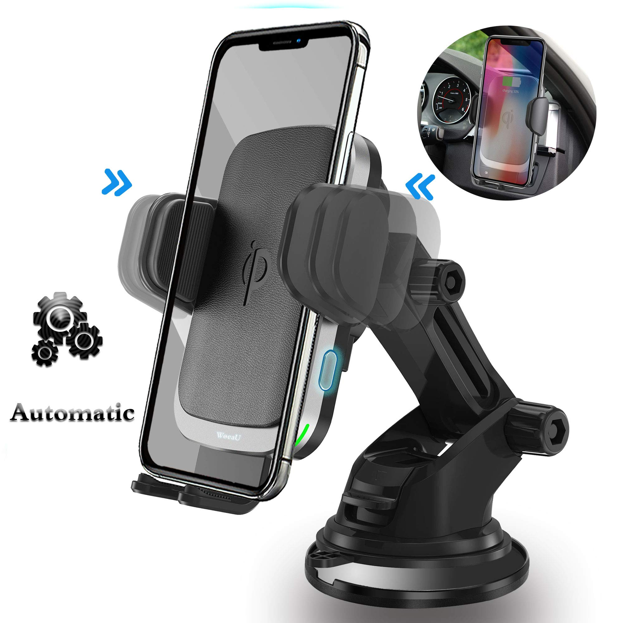 Woeau Wireless Car Charger Mount,Automatic Clamping QI Fast 10W 7.5W & 5W Charging,Windshield Dashboard And Air Vent Phone Holder,Compatible iPhone X/Max/Xs/XR/8 Plus,Samsung Galaxy S10 /S9/S8+ note 8 by Woeau