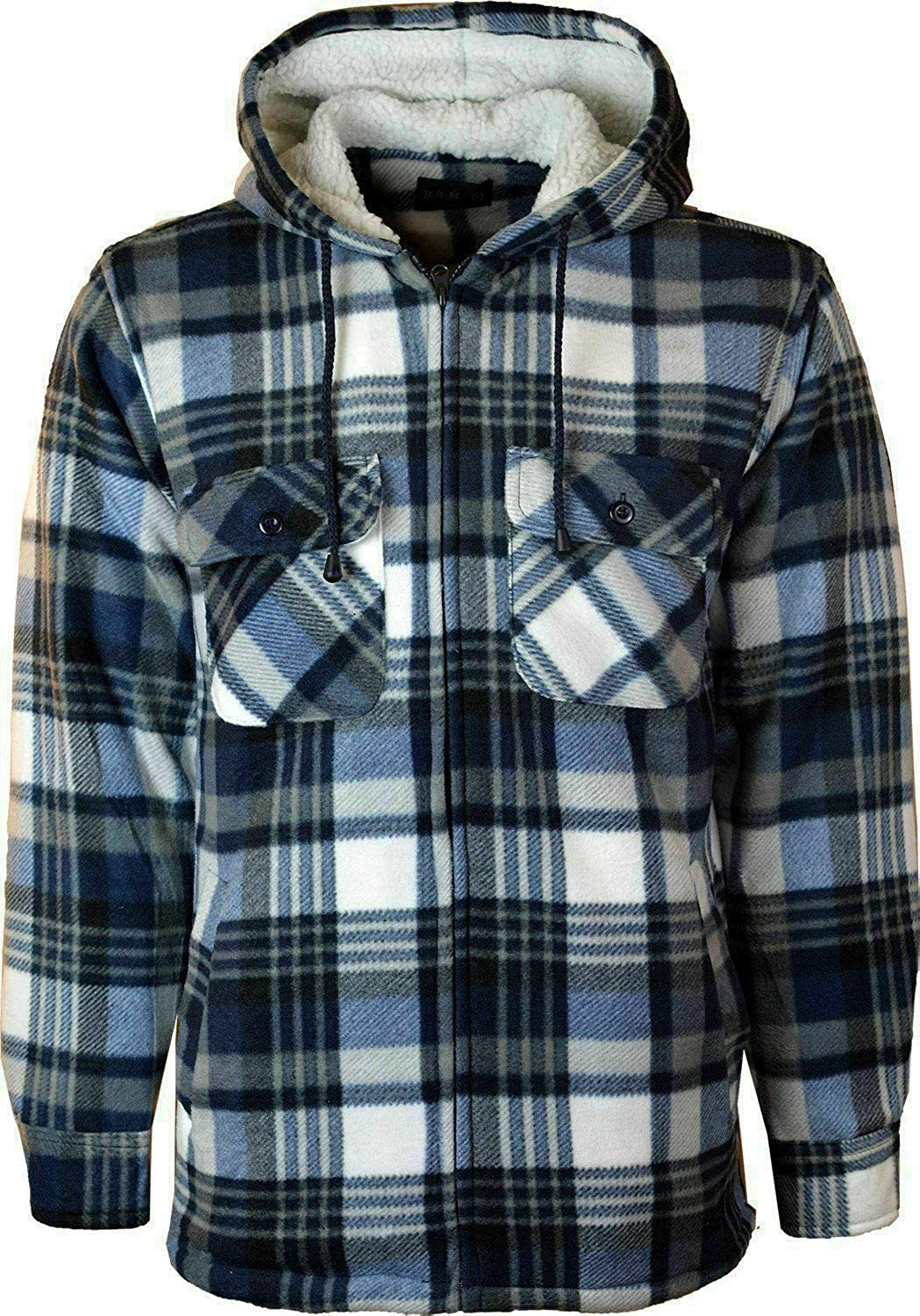 Mens Padded Lumberjack Sherpa Fur Lined Hooded Quilted Shirt Men Jacket Warm Thick Thermal Check Shirt Zip Up Hoodie UK S-5XL