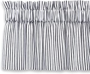 Cackleberry Home Black and White Ticking Stripe Valance Curtain Woven Cotton Lined (54 W x 17 L)
