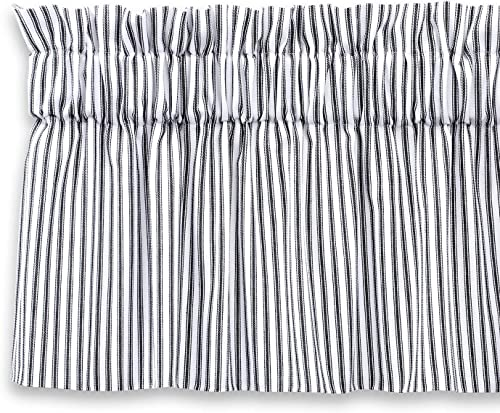 Cackleberry Home Black and White Ticking Stripe Valance Curtain Woven Cotton Lined 72 W x 17 L