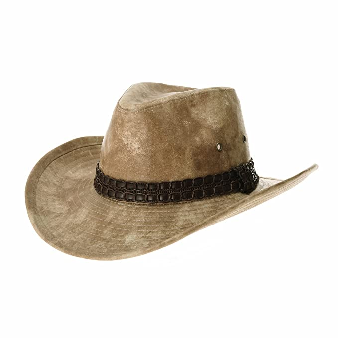WITHMOONS Sombrero de Cowboy Indiana Jones Hat Weathered Faux Leather Outback Hat GN8749