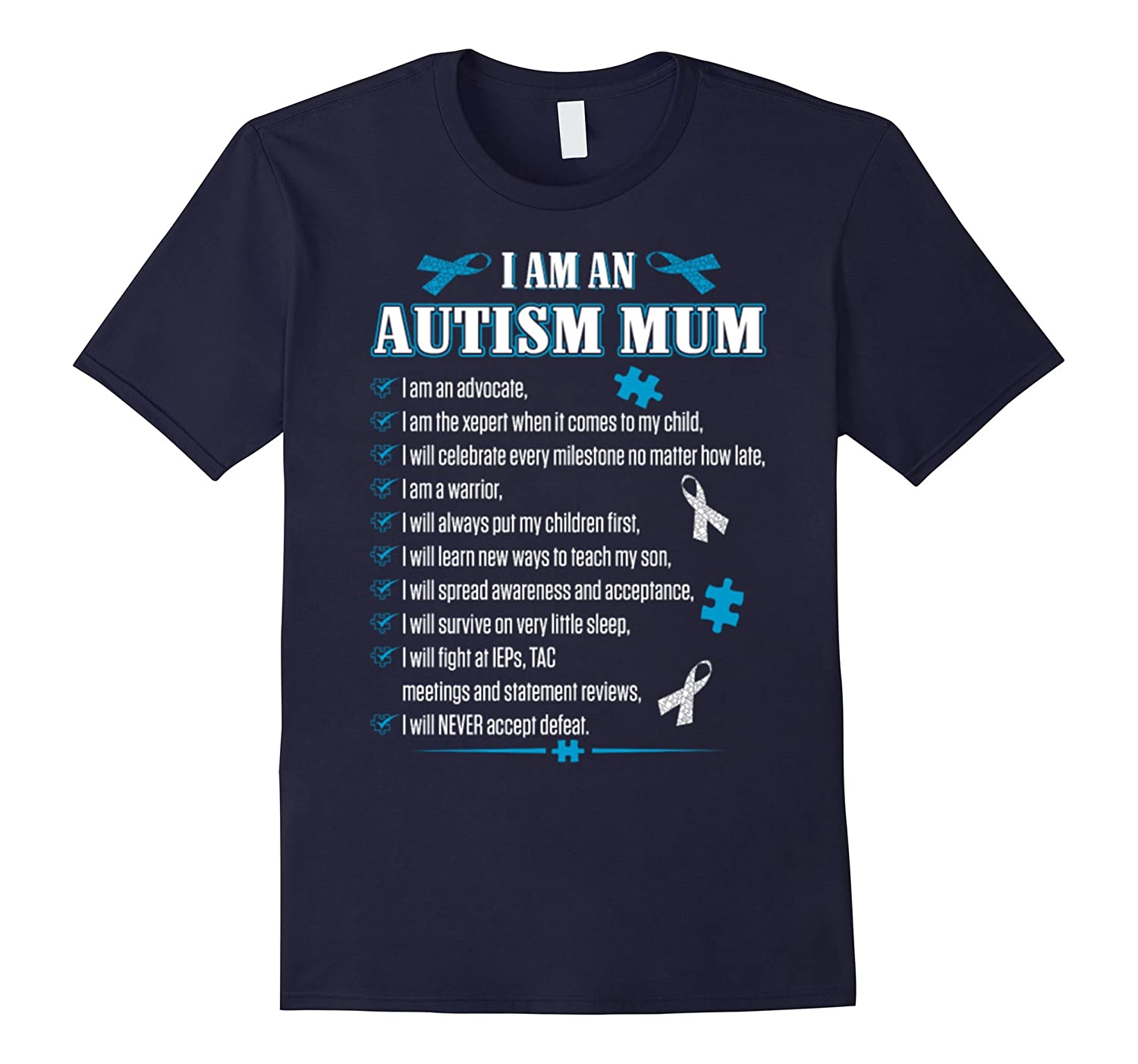 Cute I Am An Autism Mum T-Shirt Autism Awareness Day Gifts-TH