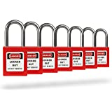 TRADESAFE Lockout Tagout Locks – 7 Loto Locks Keyed Differently – Lock Out Tag Out Safety Padlocks – 1 Key Per Lock – Red – L