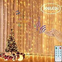 LEDGLE Lichtgordijn, Ster Kerstverlichting, LED Lichtkettinggordijn, 300 LED 3x3M, USB voor Kerstmis, Binnen Buiten…