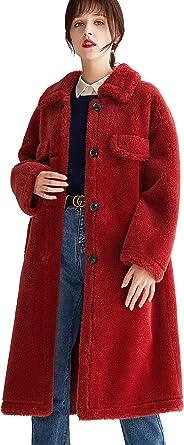New Women/'s Mid Long Lamb Wool Fur Winter Jacket Lapel Camel Chic Jacket Coat