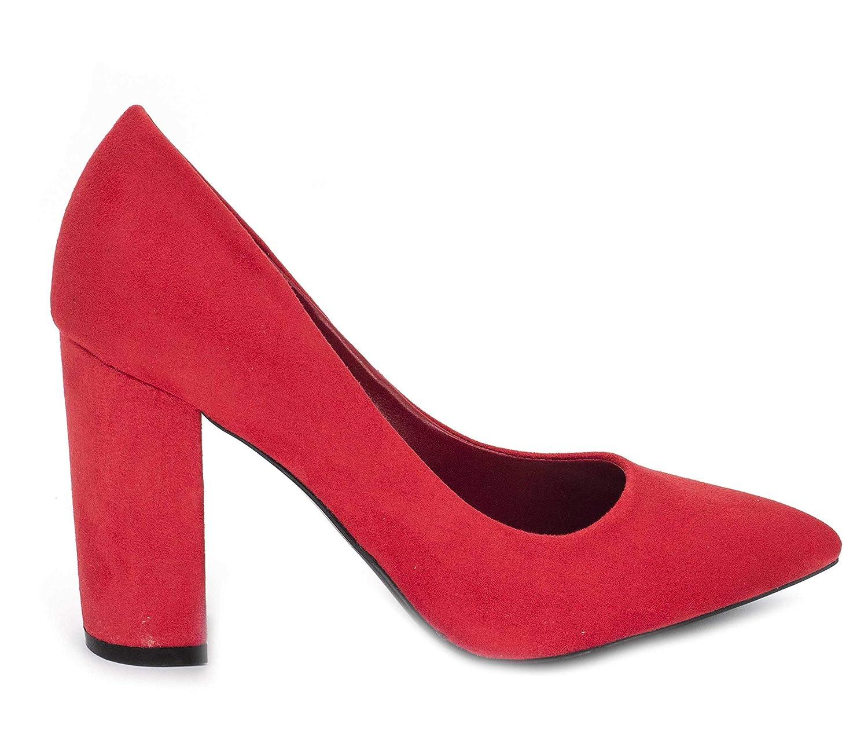 Fashion Shoes – Chaussures Femme Haut Talon 10cm – Escarpin Talon Bloc en Velours – Escarpin Femme Gros Talon Confort – Chic Mode Elégante
