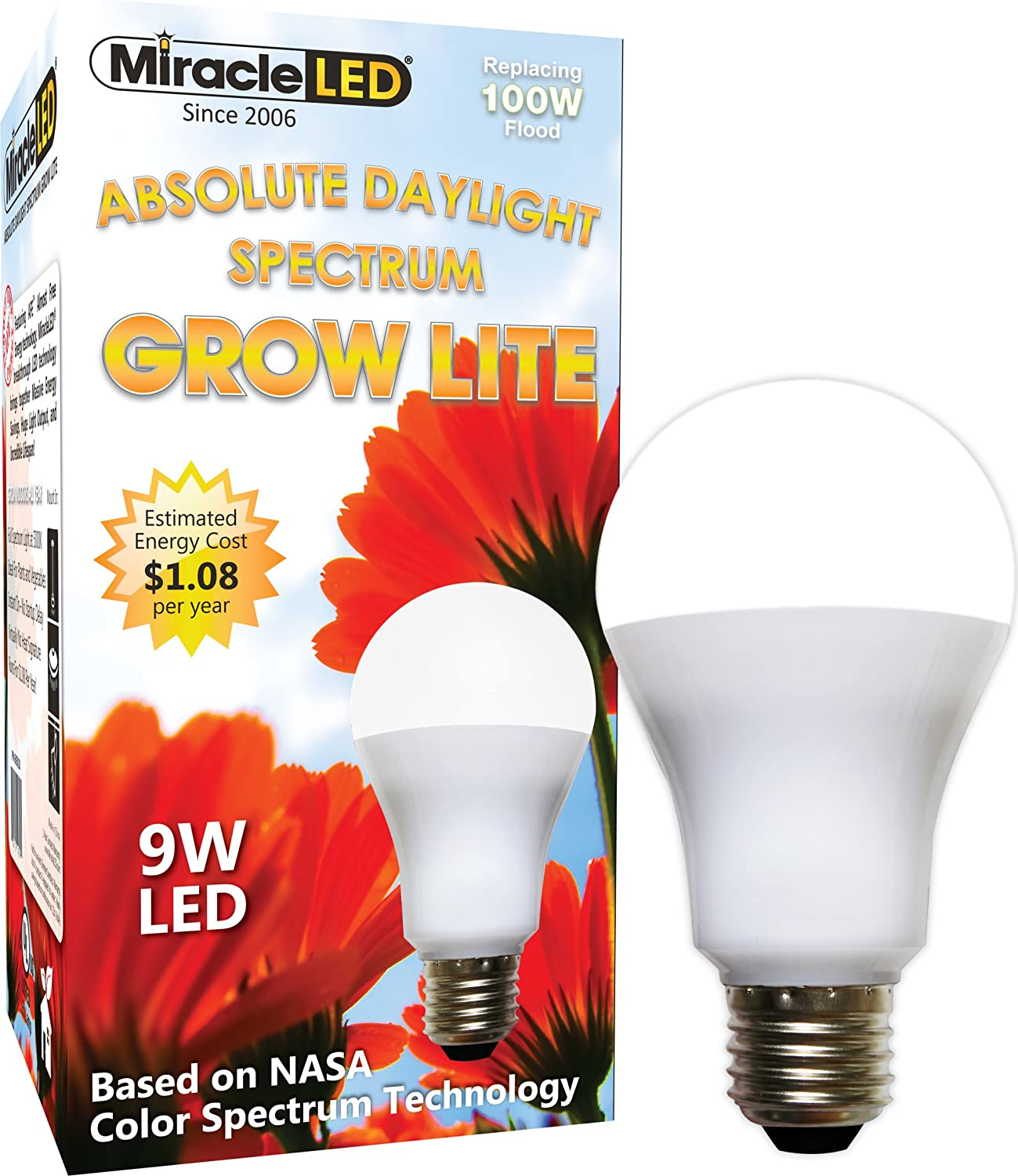 Miracle LED Absolute Daylight Spectrum Grow Lite - Replaces up to 100W - Full Spectrum Hydroponic LED Plant Growing Light Bulb for Greenhouse, Garden, and Indoor (605088): Home Improvement