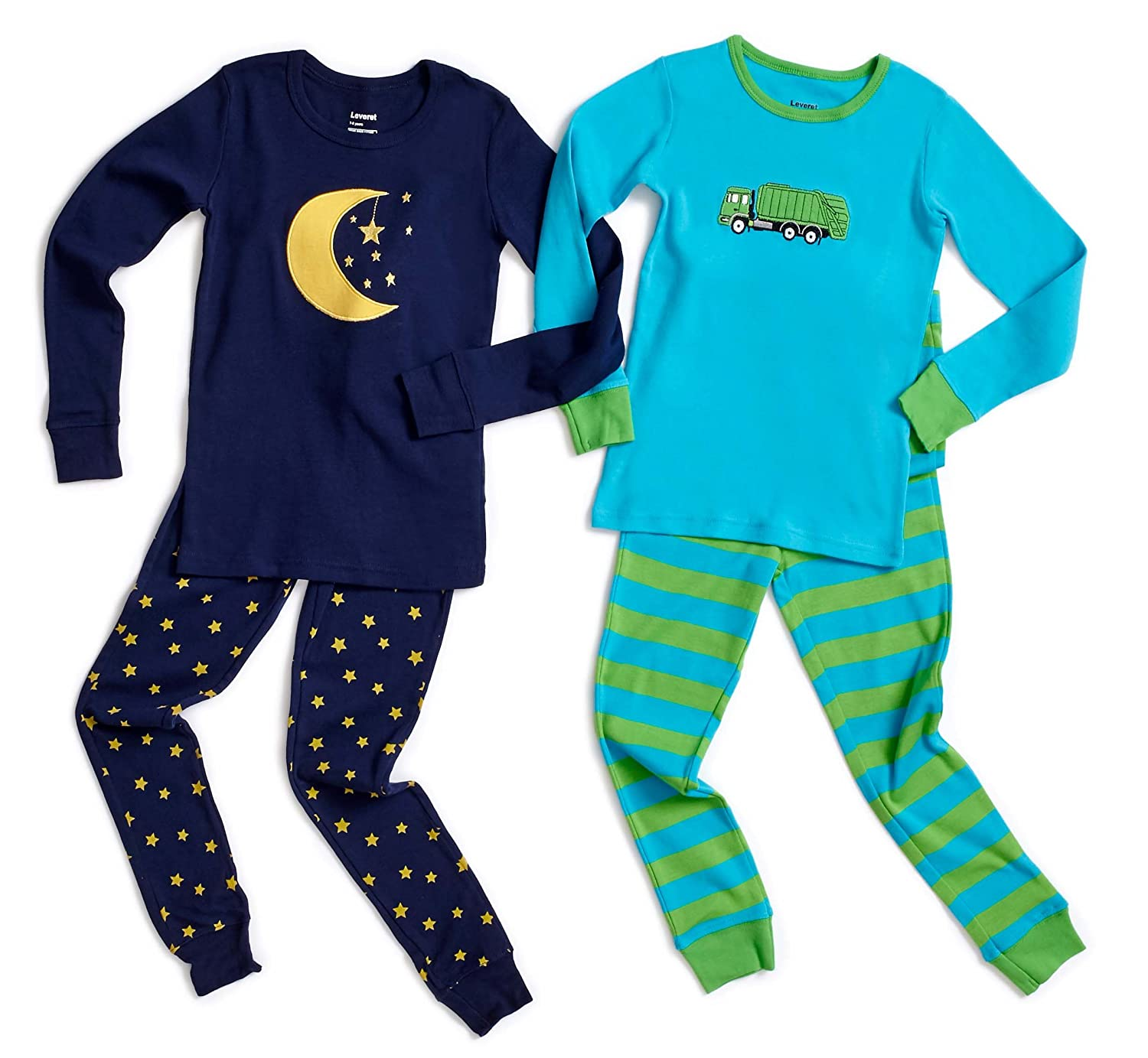 Amazon.com: Leveret Kids & Toddler Pajamas Boys Girls Bumble Bee Truck 4 Piece Pjs Set 100% Cotton (Size 12M-8 Years): Clothing