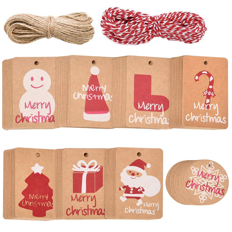 Aboat 160 pezzi di Natale etichette regalo di carta kraft con 40 m di spago string, 8 design per festa di Natale nozze Holiday party supplies 8design per festa di Natale nozze Holiday party supplies
