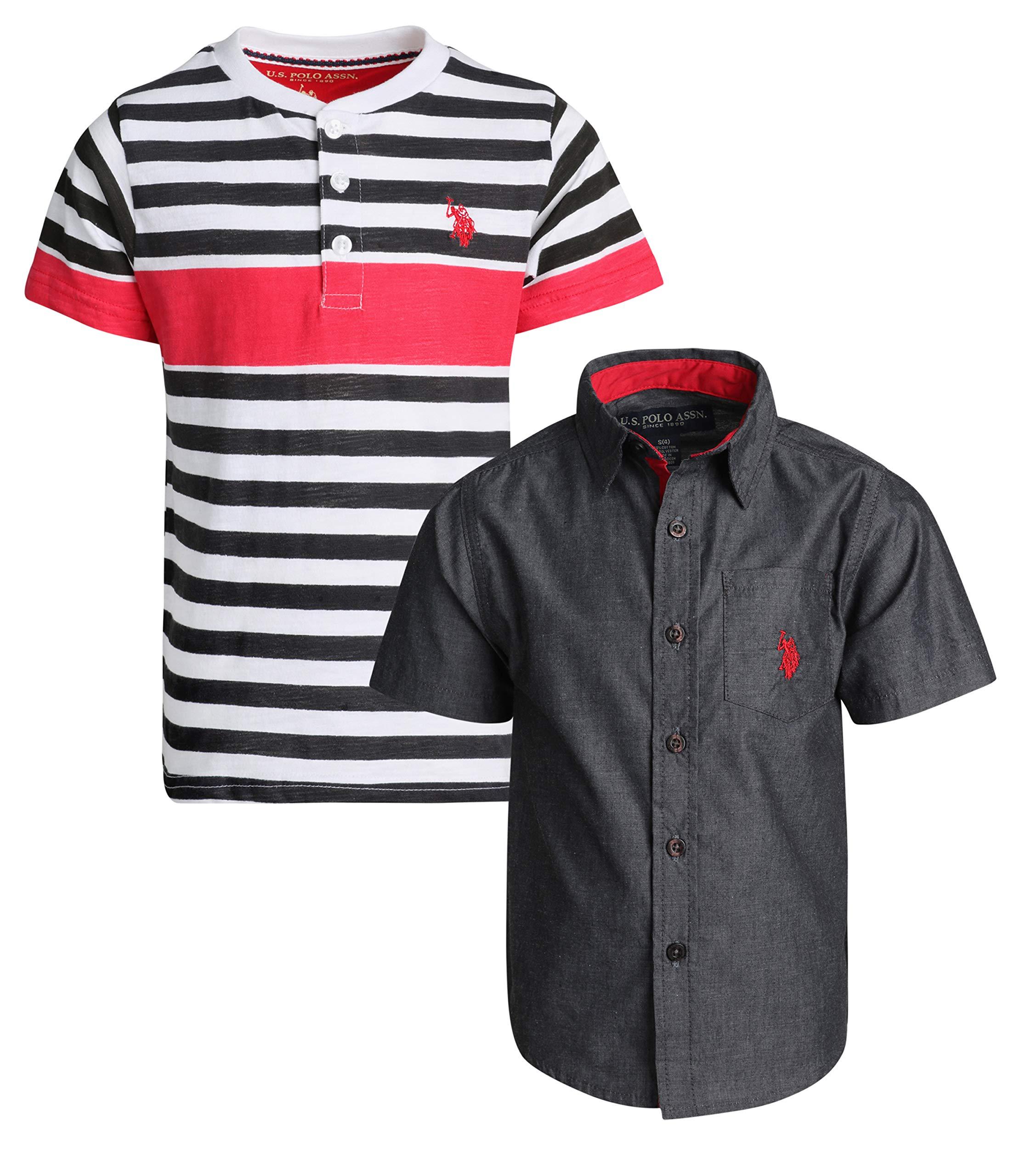 U.S. Polo Assn. Boy's Short Sleeve Button Down Shirt 2 Piece Set (Black/Red, 14/16)'