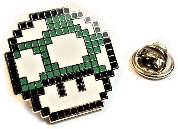 Silver Video Game Mario Brothers Blue Mushroom  Mens Accessories  Handmade Tie Bar Tie Clip