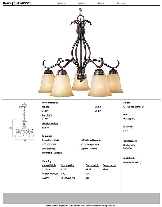 Maxim Lighting 10124WSOI Basix 5-Light Chandelier Down Light, Oil ...