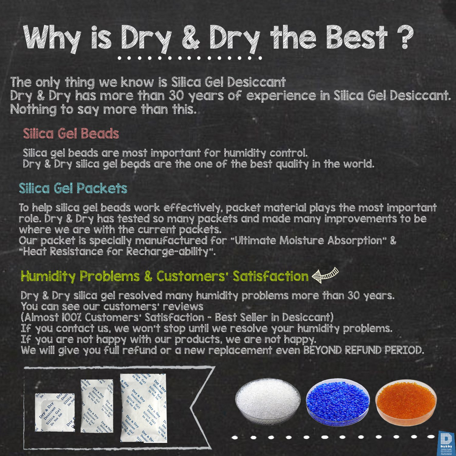 Dry & Dry 2 Gallon Blue Premium Desiccant Indicating Silica Gel Beads(Industry Standard 2-4 mm) - 15 LBS Reusable by Dry & Dry (Image #2)