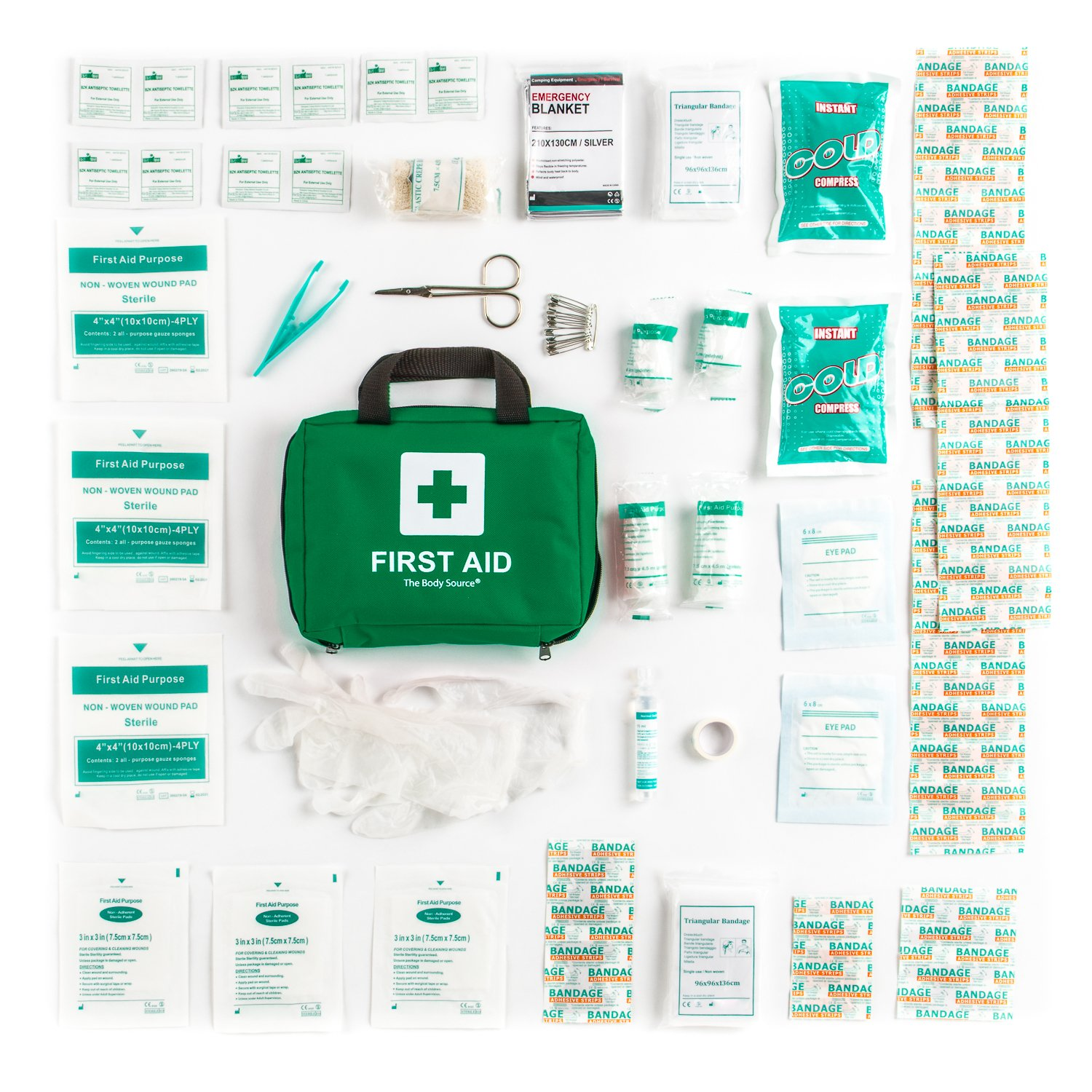 90 Pieces First Aid Kit - All-Purpose with Premium Medical Supplies and Soft Case for Home, Office, Car, Camping and Travel by The Body Source (Image #6)