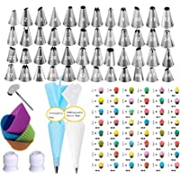 68-in-1 Cake Decorating Tips with 48 Number Icing Nozzles, 1 Silicone Pastry Bags, 1 Flower Nails, 2 Reusable Plastic Couplers, 1 Cake Brush,4 Icing Bag Ties,10 Disposable Icing Bag