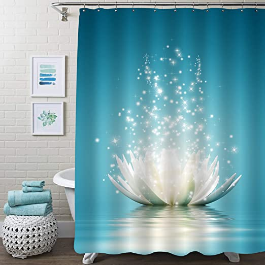 Blue Lotus Waterproof Bathroom Polyester Shower Curtain Liner Water Resistant