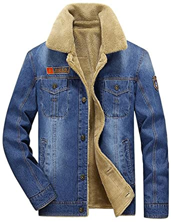 588c61569ff Jinmen Men s Thickened Denim Jacket with Fur Collar at Amazon Men s ...