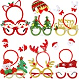 Christmas Glasses Frame and Headbands - 12 Pieces Glittered Creative Funny Eyewear and Cute Hair Hoop Decoration…