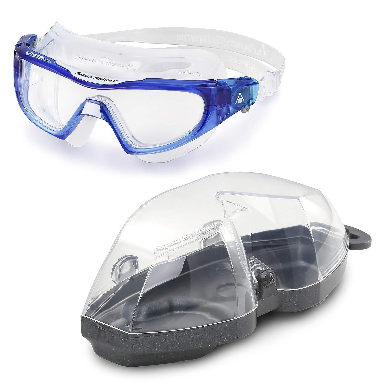 M/áscara de nataci/ón Vistor Pro para Adultos Color Azul//Blanco Aquasphere Unisex Cristal Transparente Talla /única