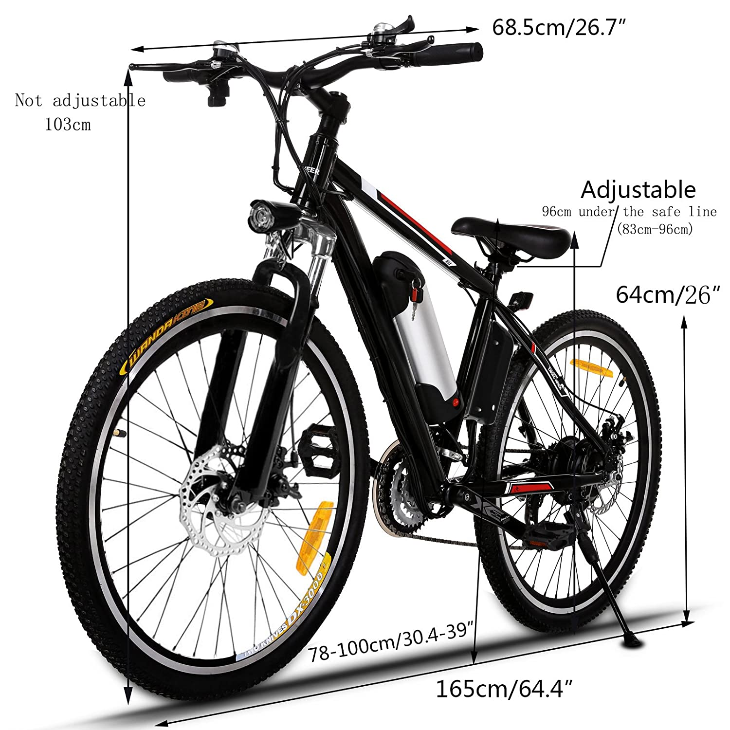 Aceshin 26 Electric Mountain Bike with Removable Large Capacity Lithium-Ion Battery 36V 250W , Electric Bike 21 Speed Gear and Three Working Modes