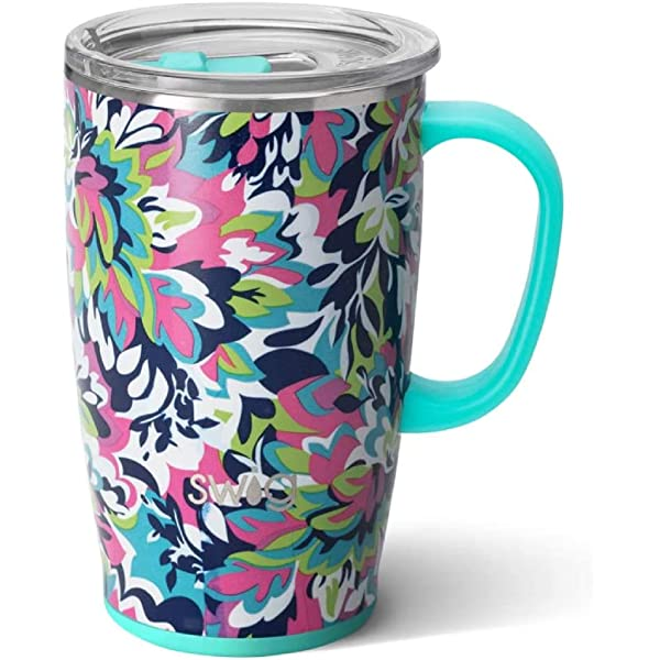 Swig Life 18oz Triple Insulated Travel Mug With Handle And Lid Dishwasher Safe Double Wall And Vacuum Sealed Stainless Steel Coffee Mug In Frilly Lilly Print Multiple Patterns Available Amazon Sg Home