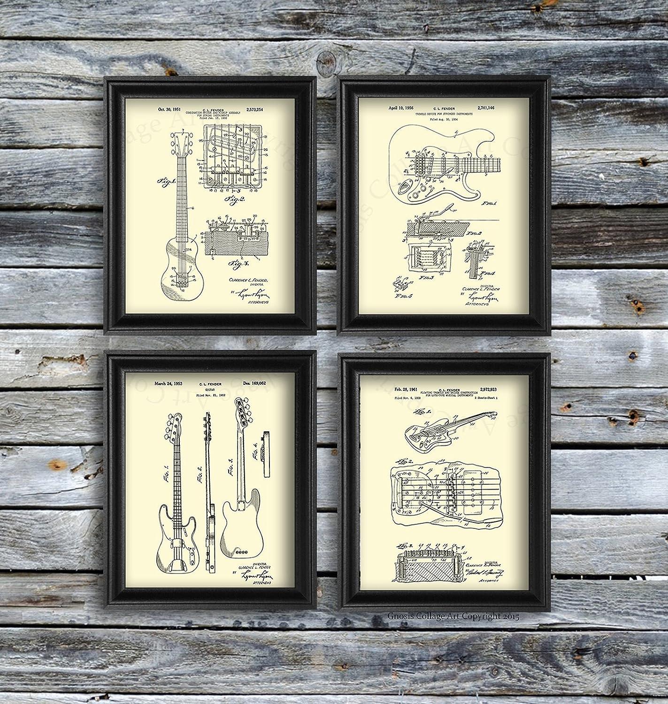 Guitar Decor Vintage Fender Guitar Patent Art Posters Set of 4 Unframed Guitar Wall Art Patent/_Fender/_Crm4A