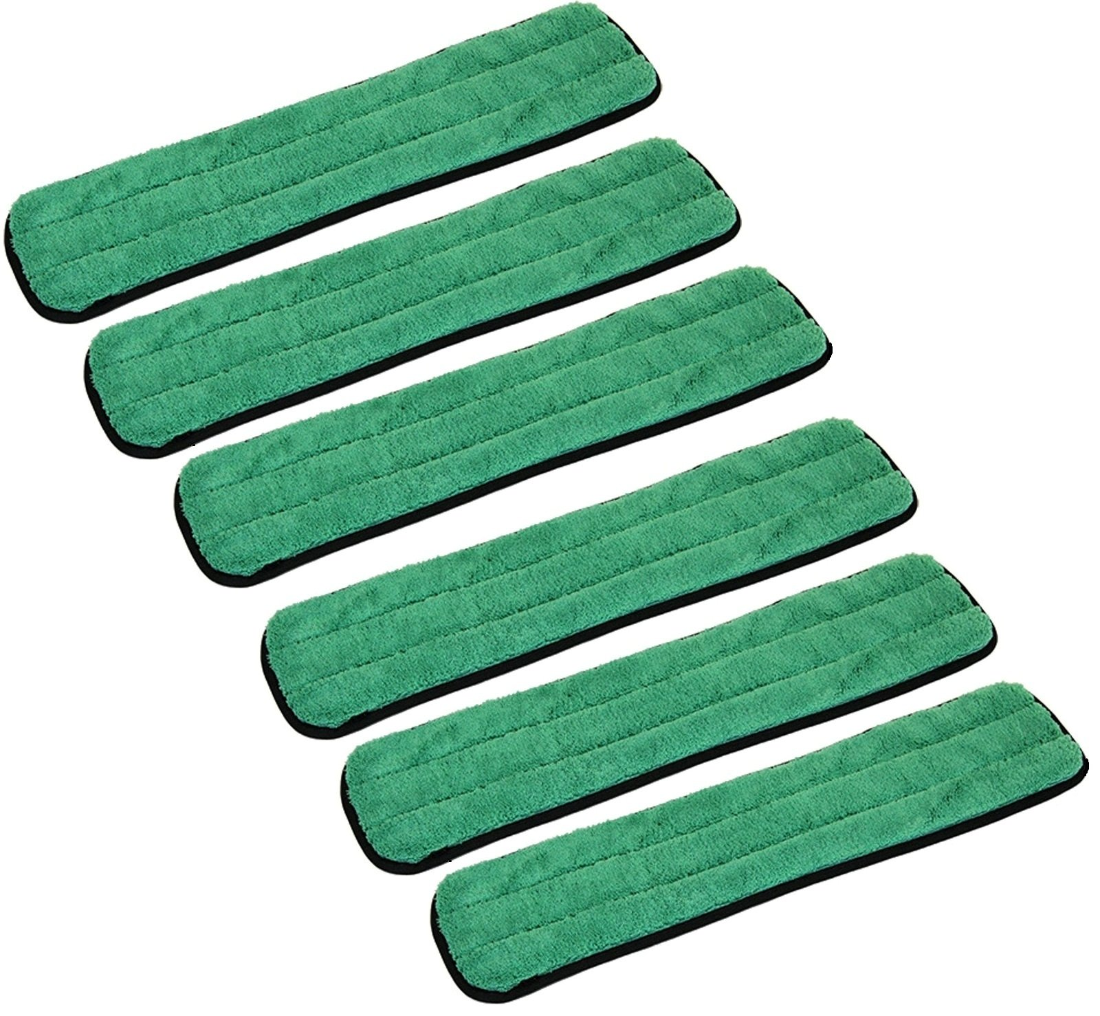 6 Pack of 24'' Industrial and Commercial Microfiber Dry Dusting Mop Pad for Flat Frames By Real Clean