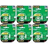 Scotch 3M 119 Magic Tape, 1/2 x 800 Inches (Pack of 6 Rolls)