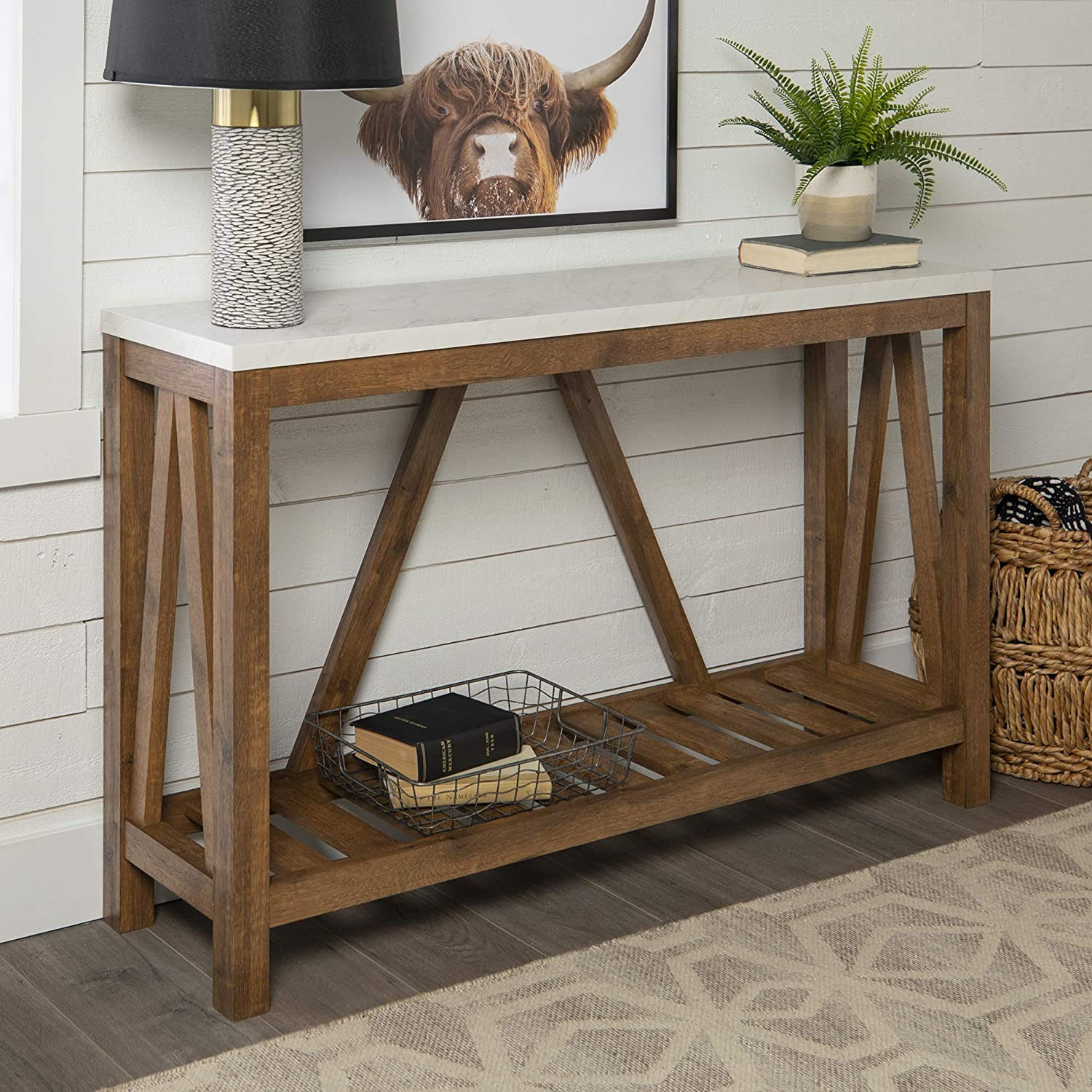 Walker Edison Modern Farmhouse Entryway Accent Table Entry Living Room, 52 Inch, White Marble/Walnut Brown