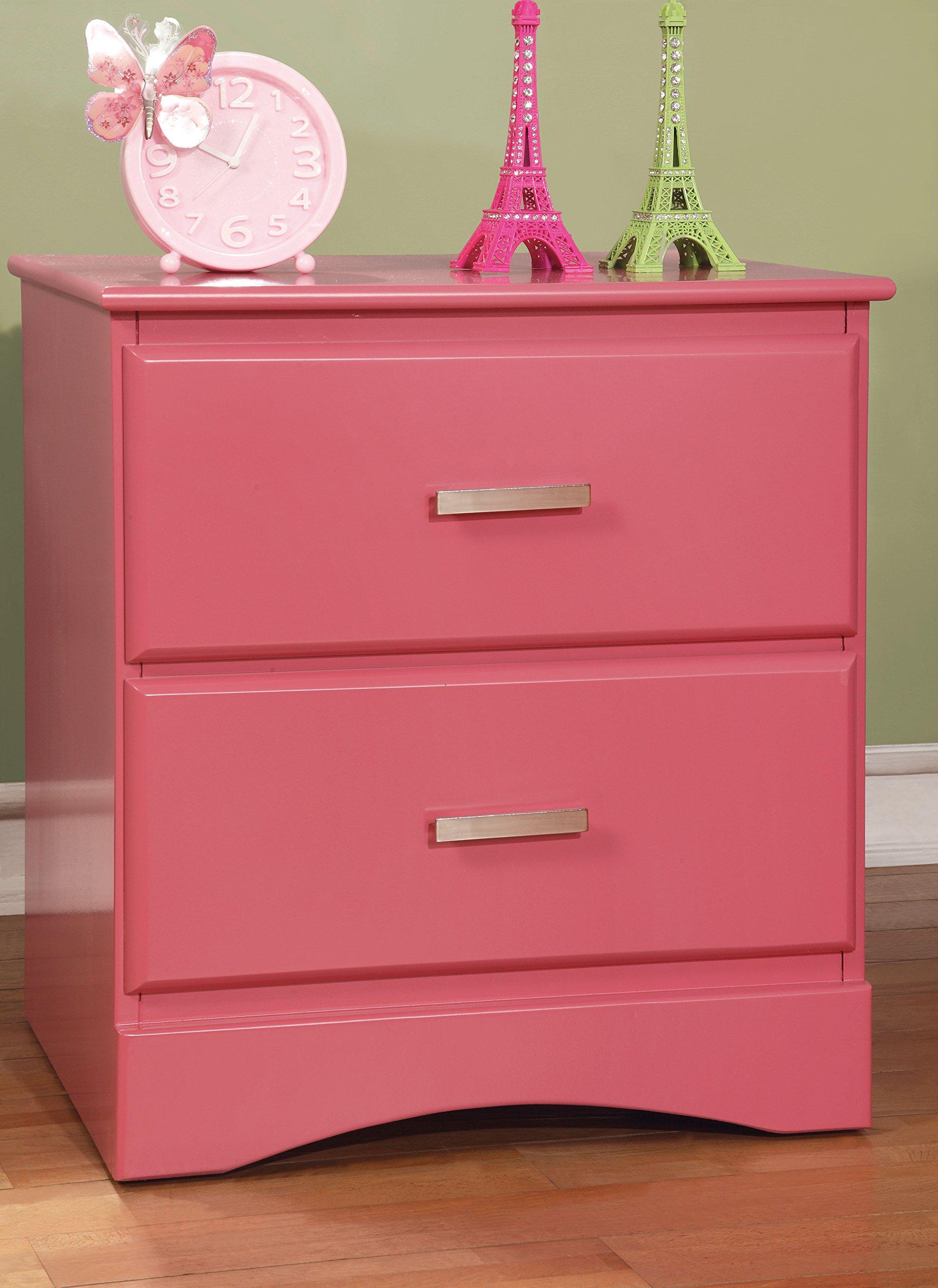 Furniture of America Kolora Youth Nightstand, Pink