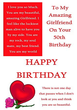 Girlfriend 50th Birthday Card With Removable Laminate Amazoncouk Office Products