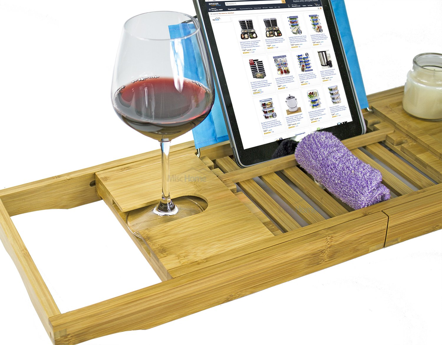 [Luxury] Bamboo Bathtub Caddy Tray with Expanding Sides, Premium Bath Tray, Tablet Holder, Wine Glass Holder, Eco Friendly Spay Tray for Bathtub Tray with Wine Holder for Bathtub by Misc Home (Image #4)