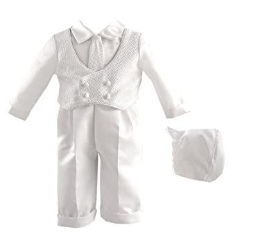 44ed7f076 Amazon.com: Lauren Madison baby boy Christening Baptism Infant Knit Vest  With Satin Pant, White, 9-12 Months: Infant And Toddler Christening  Apparel: ...