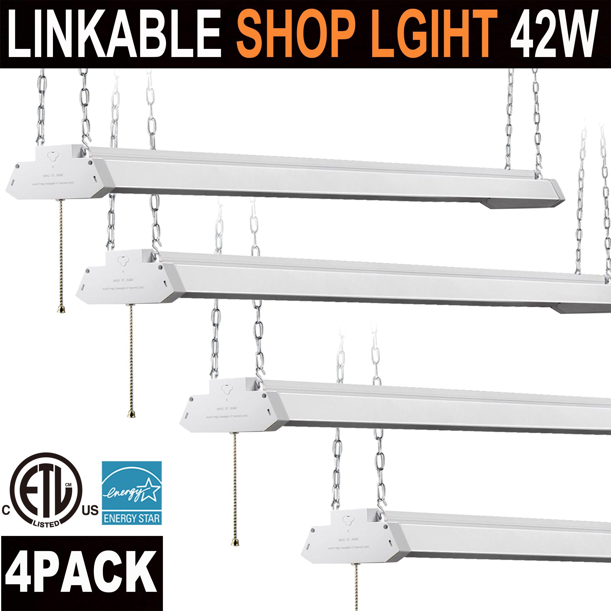 Utility Linkable LED Shop light,4FT(4pk.) , Aluminum Housing, 42W 4500LM 5000K Daylight White, With Pull Chain (ON/OFF)Linear Worklight Fixture with PlugEnergy Star cETLus Listed 4PACK 5000K Daylight by OOOLED