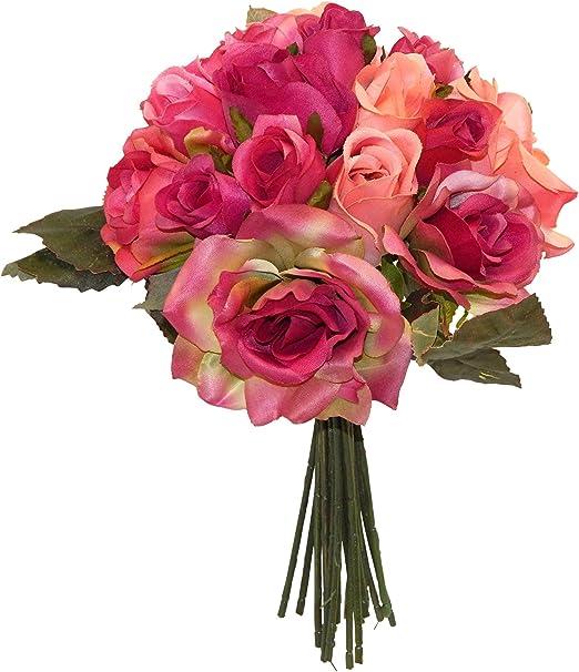 Amazon Com 14 Mixed Rose Bouquet Artificial Silk Wedding Bridal