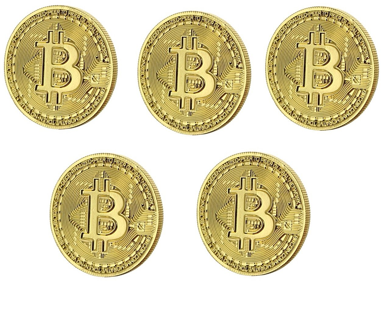 KRIWIN® 5 Pieces Gold Plated Physical Bitcoins BTC Board Game Token Poker  Chip Challenge Coin Art Deluxe Round Medallion Novelty Gift + Plastic