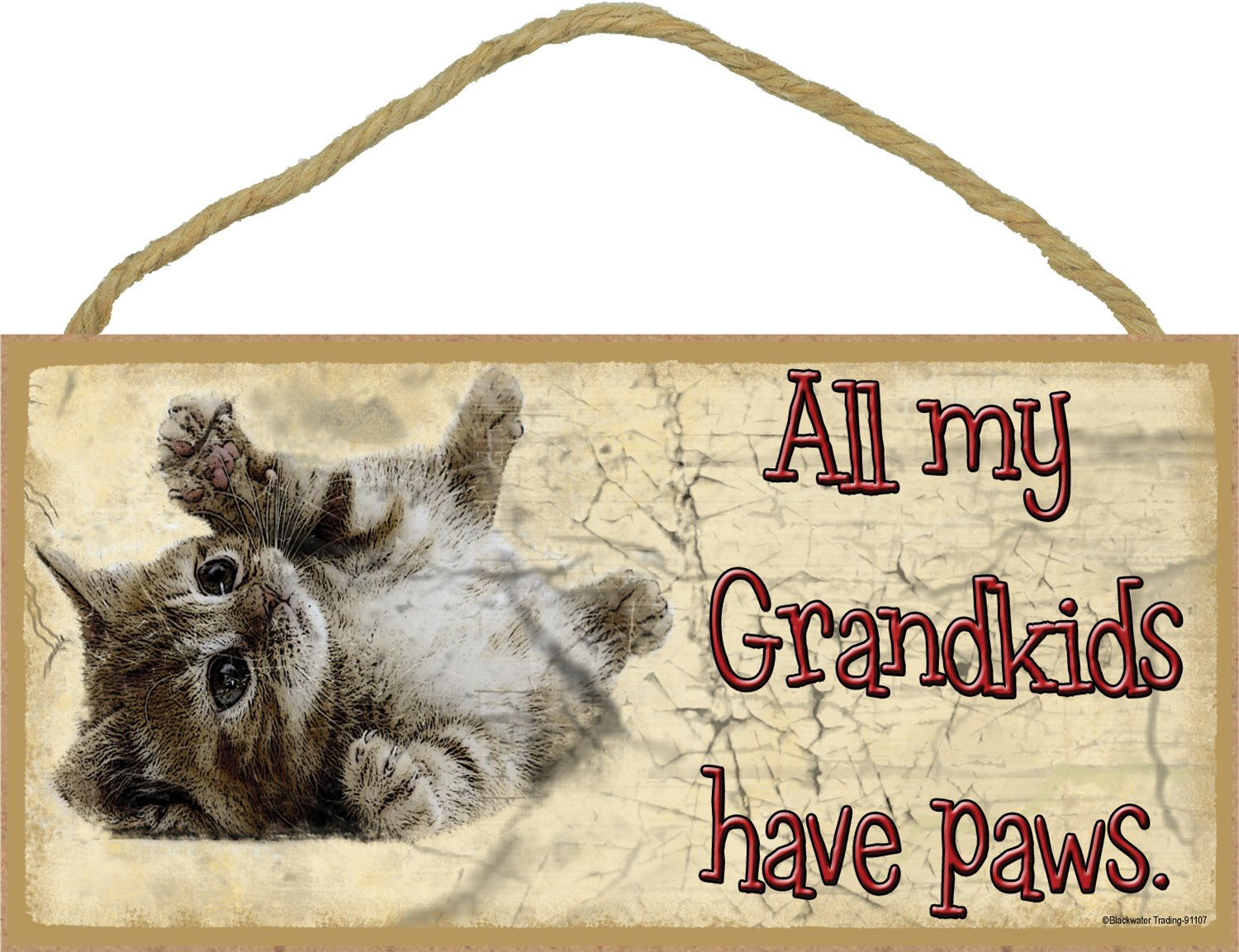 All My Grandkids Have Paws Rolling Kitten Cat Sign Plaque 5x10 Funny