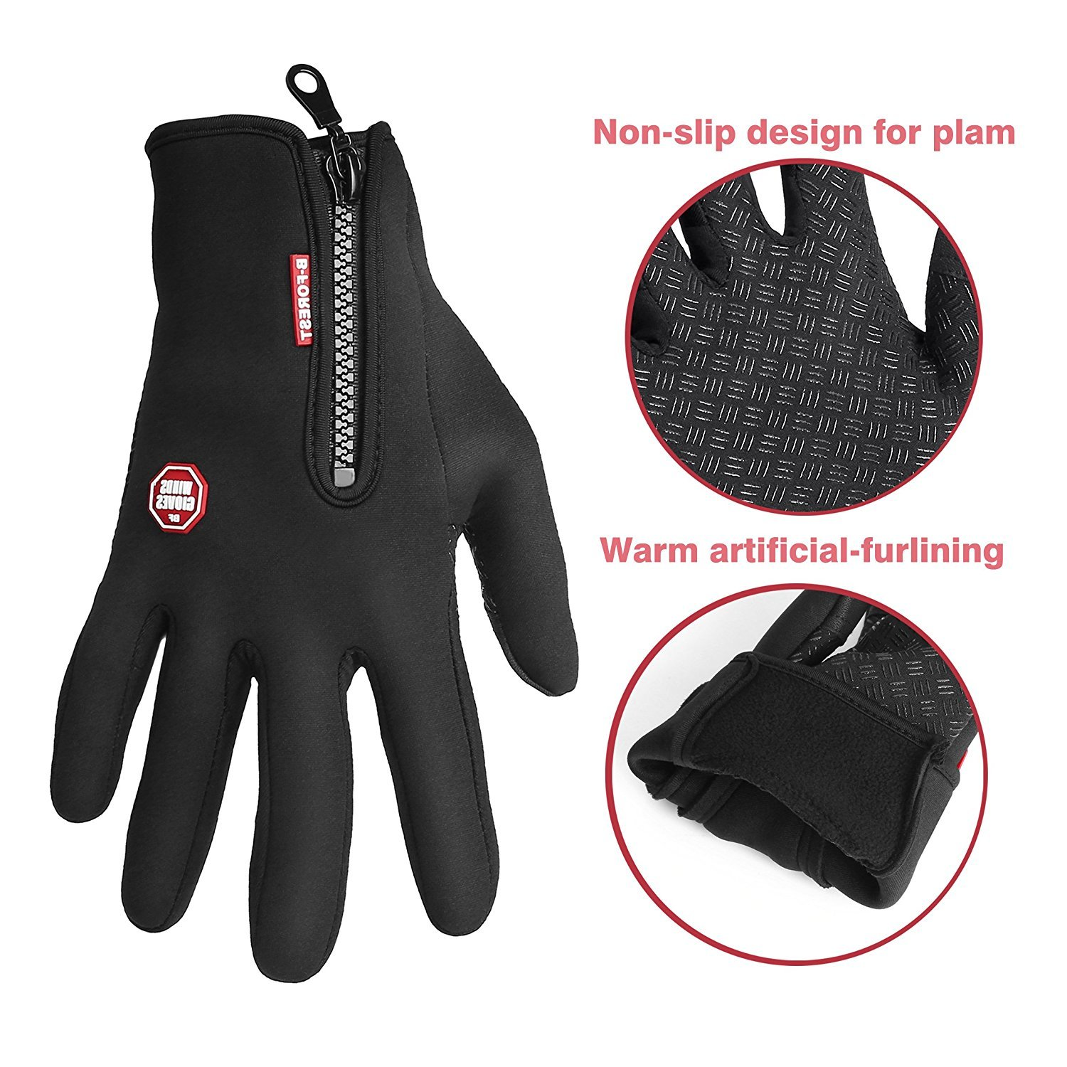 Acelec Waterproof Touch-screen Gloves,with Full-finger Design,for Outdoor Sports Climbing Dress Driving Cycling Motorcycle Camping etc