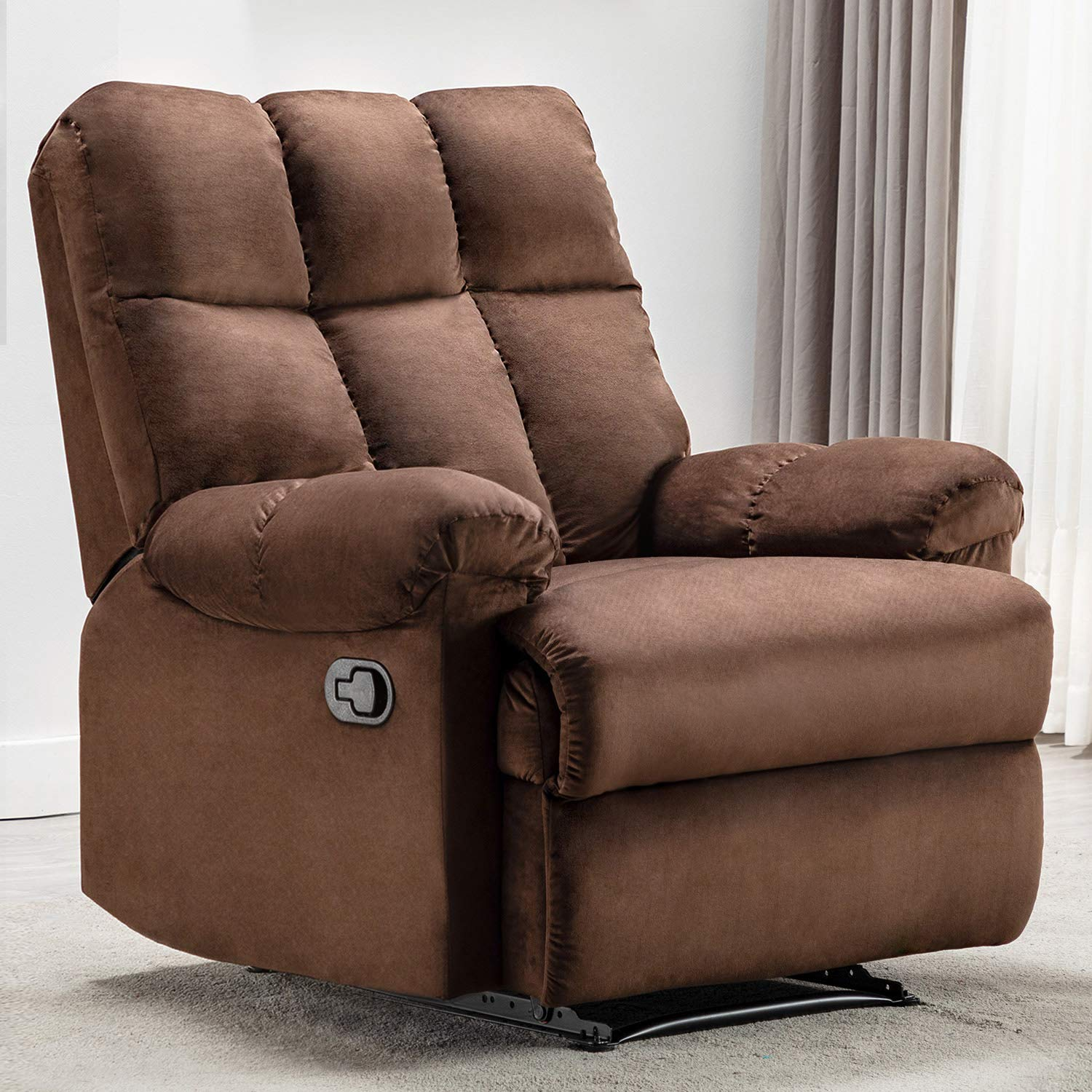 Bonzy Home Overstuffed Fabric Recliner Chair - Heavy Duty Manual Recliner - Home Theater Seating - Bedroom & Living Room Chair Recliner Sofa (Chocolate) by Bonzy Home
