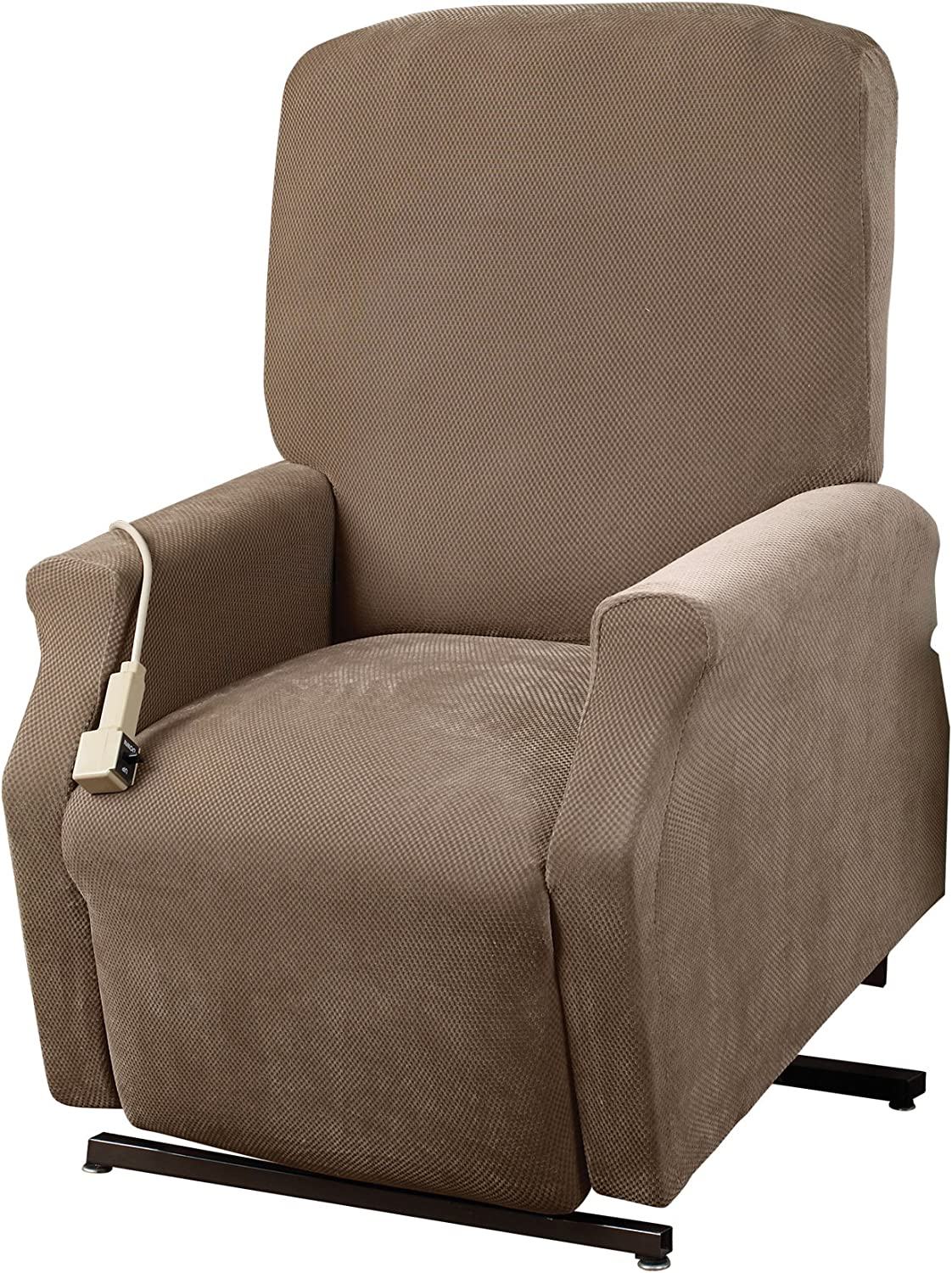 SureFit Home Decor Pique Box Cushion Medium Size Lift Recliner Chair One Piece Slipcover, Stretch Form Fit, Polyester/Spandex, Machine Washable, Taupe Color