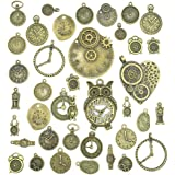 Antiqued Bronze Clock Face Charm Pendant, JIALEEY Wholesale Bulk Lots Mixed Gears Steampunk Charms Pendants DIY for…