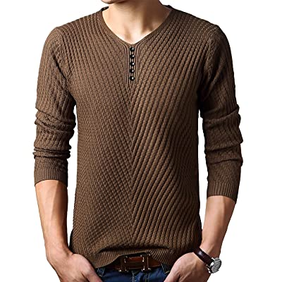 Elonglin Men's Sweater Pullover Long Sleeve Jumper Cable Stitch V-Neck