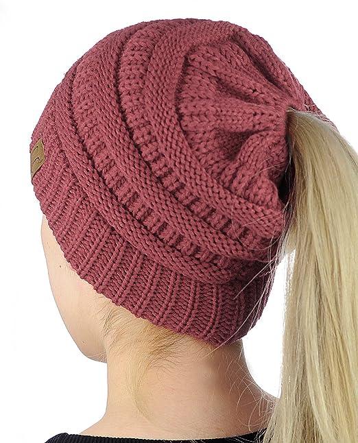 C.C BeanieTail Kids Childrens Soft Cable Knit Messy High Bun Ponytail Beanie Hat