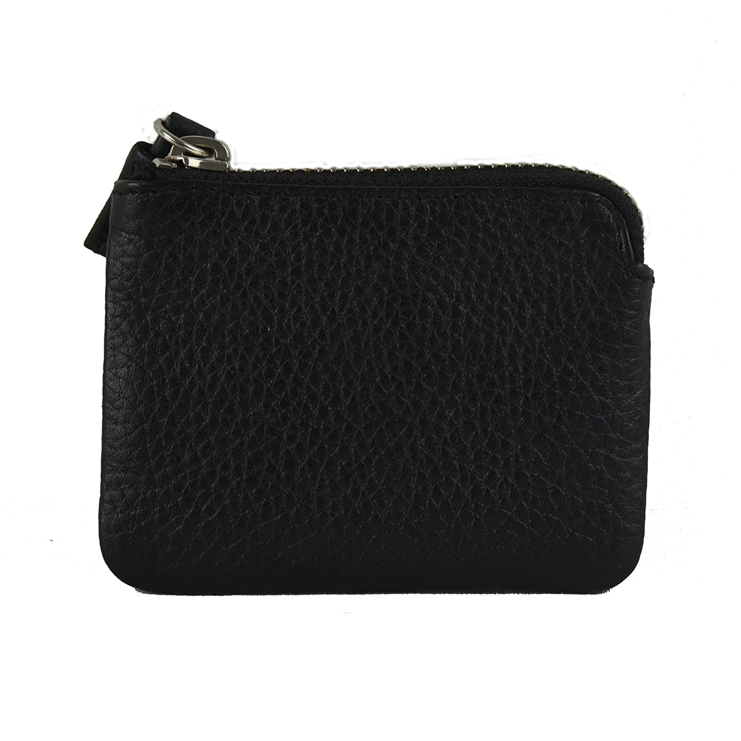ID Holder with Zipper Closure Genuine Leather Credit Card Holder Black
