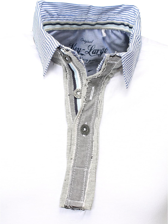 KEY LARGO Hombres Polo Camisa Nation V-Cuello Tapeta Collar ...