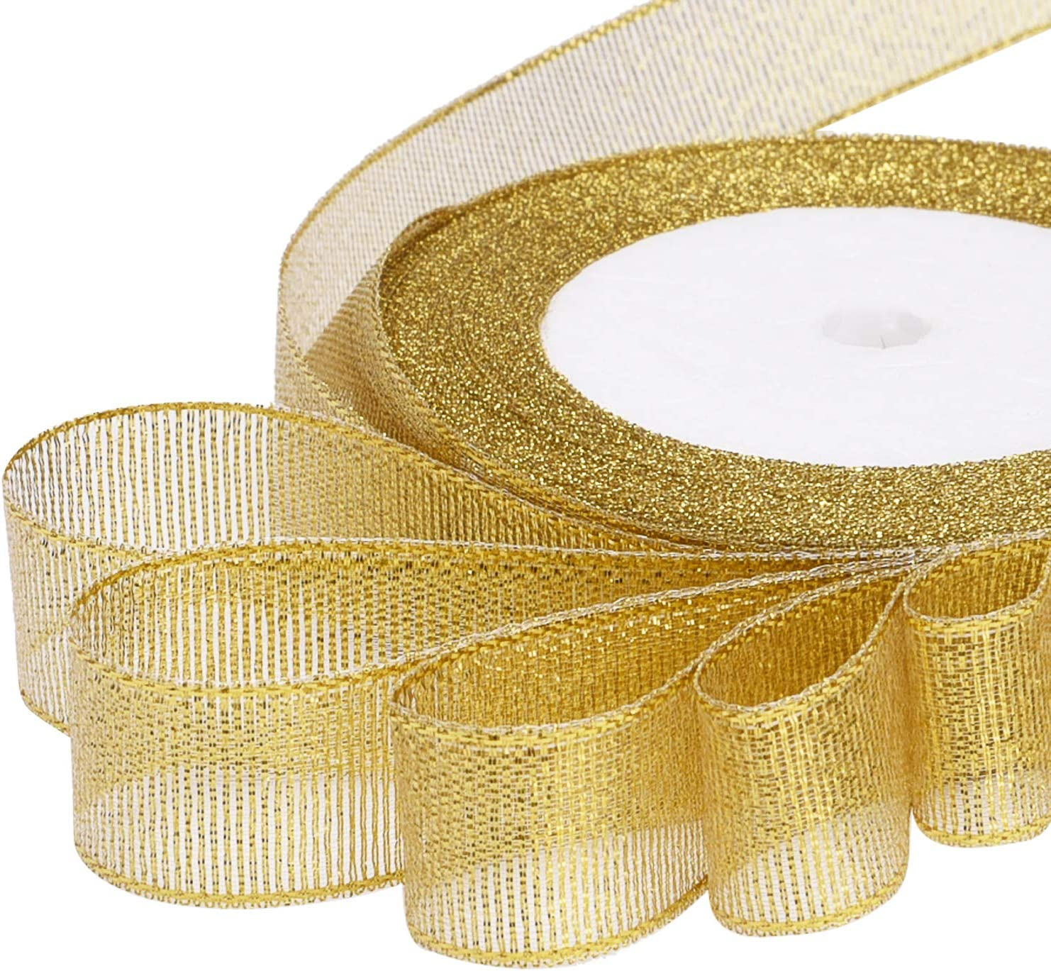 Livder 3 Rolls 75 Yard Metallic Glitter Ribbon for Gift Wrapping Birthday Holiday Graduation Party Decoration (Golden, Silvery, Silver-Black): Health & Personal Care