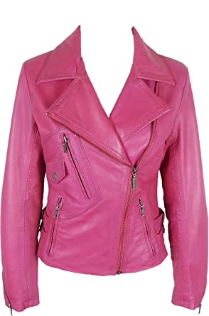 numerous in variety 50-70%off 100% high quality Unicorn Womens Fashion Biker Style Real Leather Jacket - Waxed Pink #GC