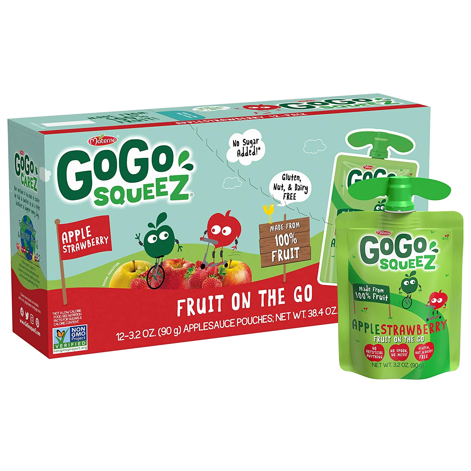 GoGo squeeZ Applesauce, Apple Strawberry, 3.2 Ounce (12 Pouches), Gluten Free, Vegan Friendly, Unsweetened Applesauce, Recloseable, BPA Free Pouches