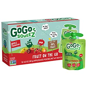 GoGo squeeZ Fruit on the Go, Apple Strawberry, 3.2 oz. (12 Pouches) - Tasty Kids Applesauce Snacks Made from Apples & Strawberries - Gluten Free Snacks for Kids - Nut & Dairy Free - Vegan Snacks