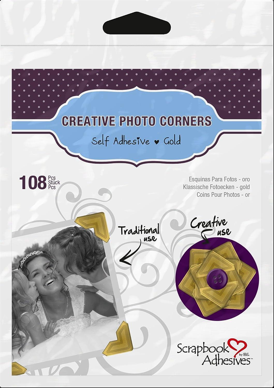 3L Scrapbook Adhesives Self-Adhesive Creative Paper Photo Corners, Black, 108-Pack 01626